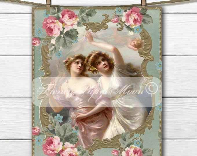 Shabby Chic, Digital Romantic Victorian Women, Angels, Roses, Romantic Pillow Transfer Image, Vintage Iron On Graphic, Instant Download