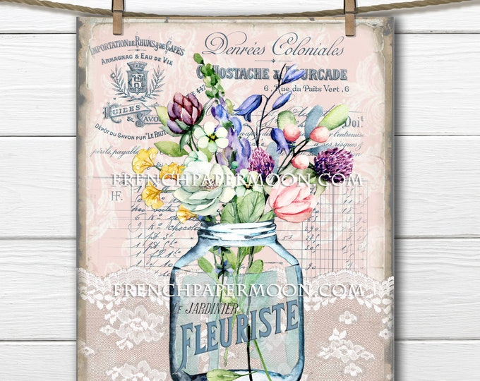 French Flower Printable, Spring Floral Bouquet, Vase Flowers, French Pillow Image, Mothers day, Crafts,, Decoupage, Transparent