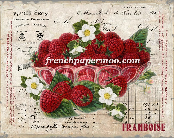 Vintage French Raspberry Digital, French Fruit Graphic, Fabric Block Image, Pillow Image, Botanical Print, French Decor, Crafts