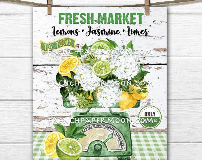 Summer Market, Farmer's Market, Kitchen Scale, Lemons & Limes, Jasmine, DIY Summer Fruit Sign, Wreath Accent, Tiered Tray Decor,, Digital