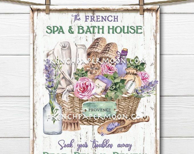 French Lavender, Digital, Spa, Bathroom, Spa Basket, Lavender, Roses, Soap, DIY Bathroom Sign, Bathroom Decor, Pillow Image, PNG wood