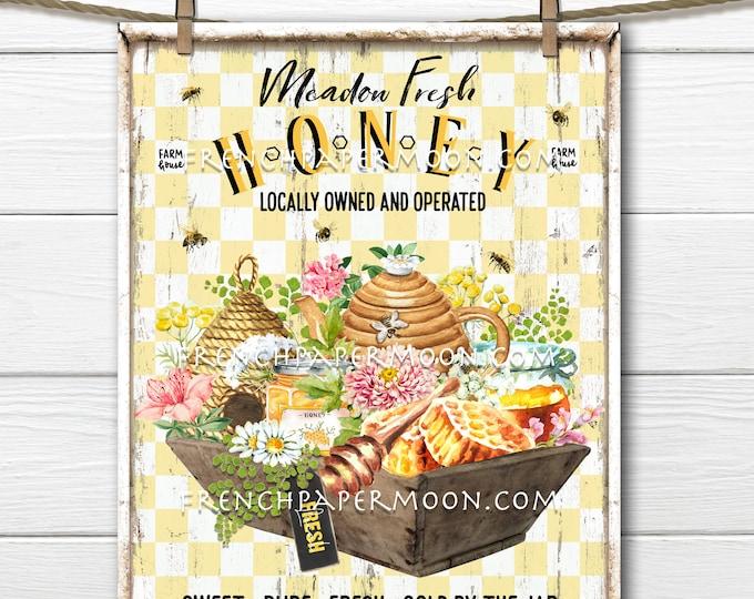 Farmhouse Honey, Honeybee Farm, Honey Market, Beehive, Honey Jars, DIY Honey Sign, Wreath Accent, Image Transfer, Tiered Tray Sign, PNG