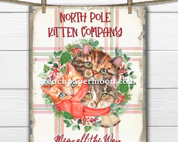 Christmas Cat Digital, Xmas Kittens, North Pole Kittens, DIY Christmas Sign, Wreath Attachment, Pillow Image, Cat-lover, Xmas Cat, PNG