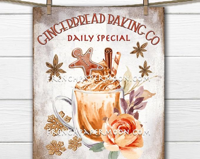 Digital Christmas Drink, Printable Gingerbread Sign, Winter Drink Graphic, Xmas Mug, Pillow Image, Transparent, Crafts, Fabric Transfer, PNG