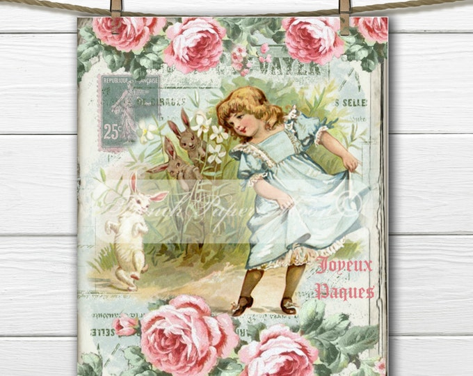 Adorable Shabby Easter Girl, Bunny, Roses, French Graphics, french Pillow Graphic Transfer Image, Digital Download