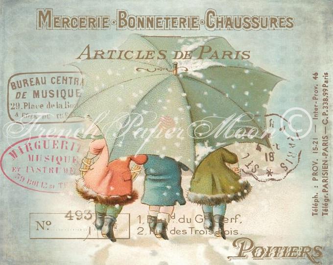 Adorable Vintage Children Image, Victorian Children walking in snow, Vintage Winter Download Graphic Transfer, Digital Christmas