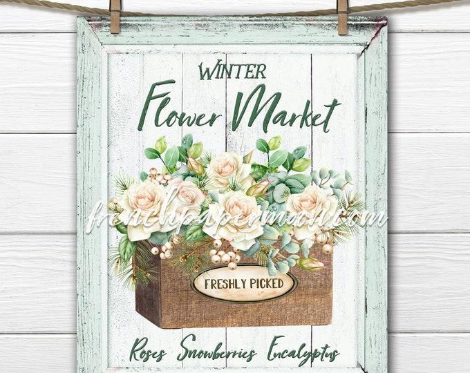 Shabby Flower Market, Digital Sign, Winter Floral Graphic, Xmas Bouquet, Pillow Image, DIY Xmas Sign, Printable Xmas, Transparent