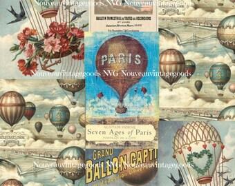Hot Air Balloons Retro Printable, Vintage Digital Hot Air Balloons, Hot Air Balloon Collage Sheet