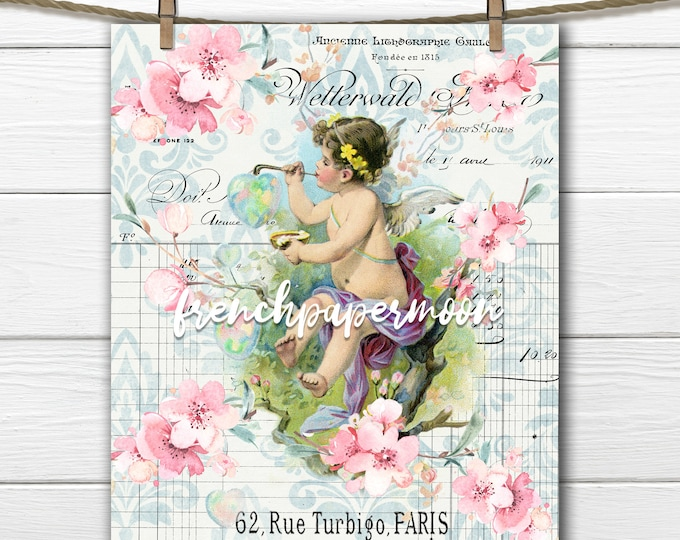 Ephemera French Cherub with Flowers - Clipart Illustration - French Graphic Receipt- Instant Digital Download Printable - Sakura Blossom