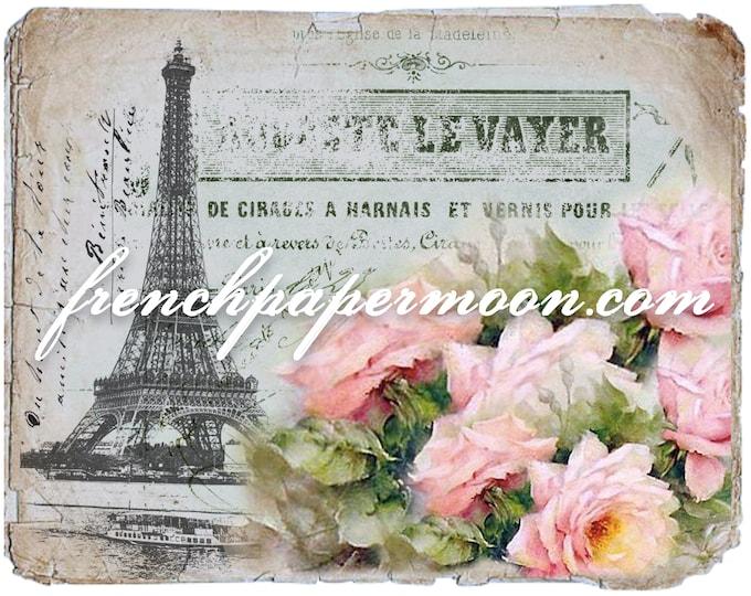 Vintage Digital Paris Postcard, Shabby Rose Eiffel Tower Graphic, French Pillow Transfer, Iron On Fabric, Paris Decoupage