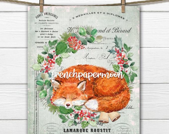 Christmas Fox Digital, Winter Fox, Woodland Xmas Graphic, Christmas Wreath, Pillow Image, Sublimation, Christmas crafts, Transparent