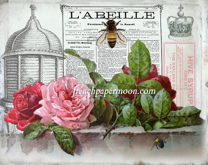 Shabby French Bee Graphic, Digital Vintage Bee Printable, French Bee Printable, Vintage Bee, Roses, Large Size Image transfer