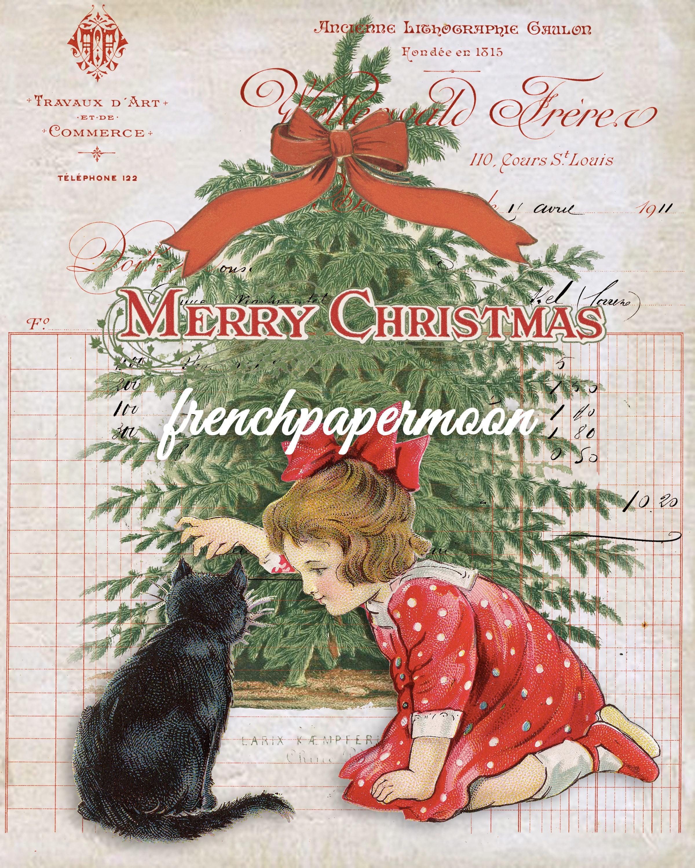 victorian christmas girl cat christmas tree vintage french graphics christmas pillow image transfer diy christmas