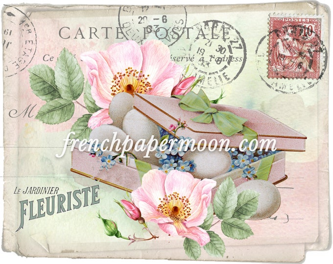 Vintage Shabby Spring Eggs Roses French Graphic Printable Spring Crafts Digital Large Image Size