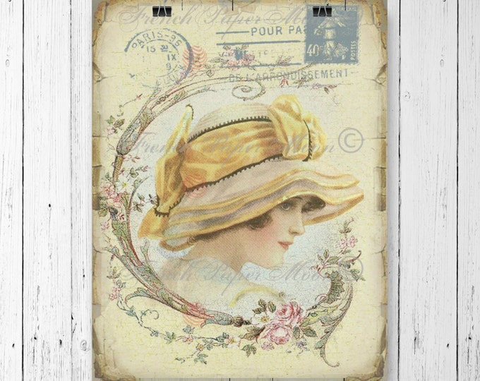 Victorian lady, French Vintage Digital Image, Yellow Hat, Vintage French Digital Collage Sheet, French Pillow Image