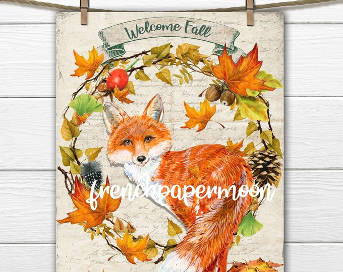 Red Fox Digital, Fall Wreath, Autumn Leaves,  Foliage, Fox Pillow Image, Printable Fox Instant Download Graphic Transfer Craft Supply