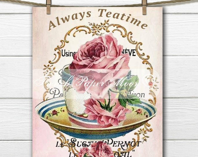 Shabby Digital Shabby Chic Teatime, Teacup with Roses, Instant Download printable Fabric Transfer Graphic