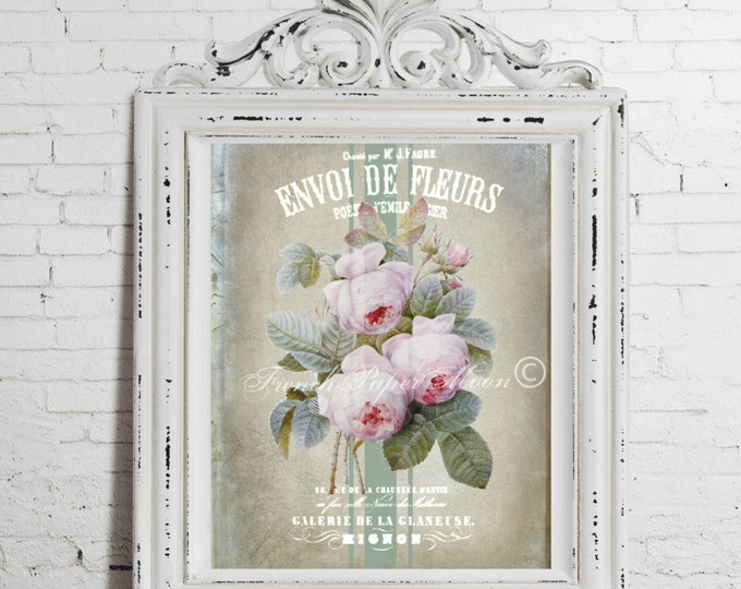Digital French Shabby Chic Roses,  Antique Redoute Roses, Botanical Roses, French Graphic Pillow Image, French Decoupage