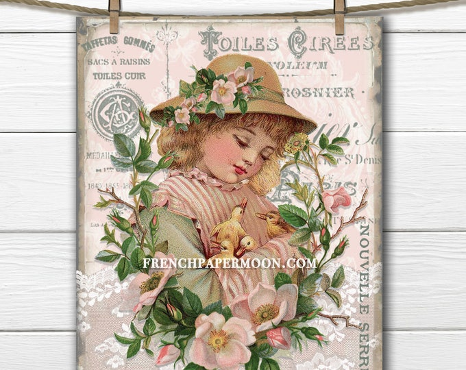 Shabby Vintage Girl holding chicks Digital Graphic French Typography Rose Wreath Instant Download Easter Crafts