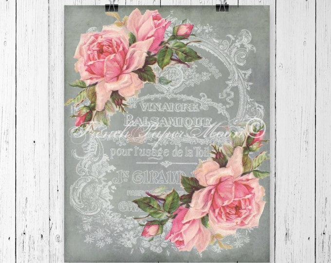 Digital Download Vintage French Graphics Shabby Pink Roses Digital French Ephemera Collage French Pillow Image