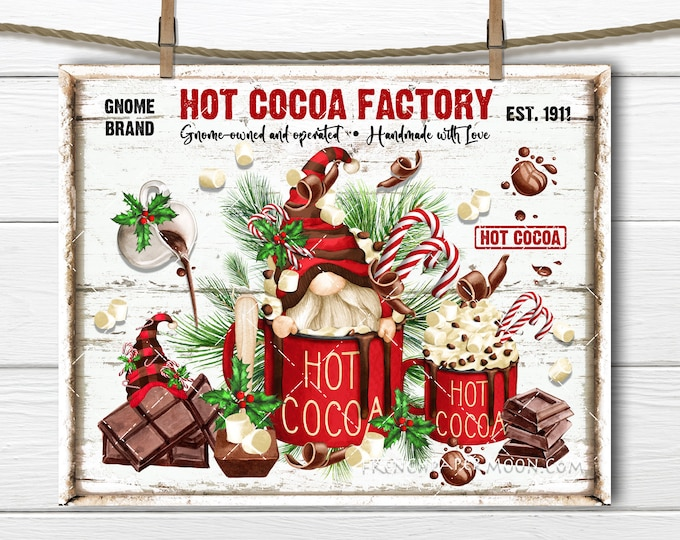 Gnome Hot Cocoa Sign, Christmas Gnome, Digital, Marshmallows, Chocolate, DIY Xmas Sign, Wreath Accent, Fabric Transfer, Xmas Plaque, PNG