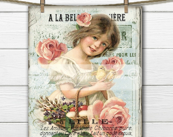 Shabby Victorian Girl, Chicks, Roses, French Typography, French Pillow Digital Graphic Transfer, Graphic Transfer