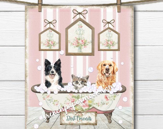 Bathtime Pets, Vintage Bathtub, Dogs, Cat, Bubble-Bath, Best Friends, Animal Lover, Digital Animal Graphic, Bathroom Print, Kids Room