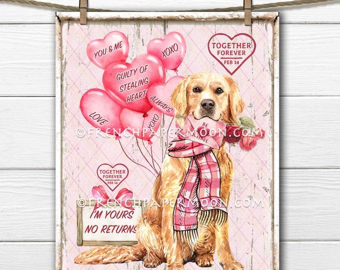 Valentine Dog Digital, Golden Retriever Valentine Sign, Dog-lover Valentine Decor, Wreath Attachment, Pillow Image, Sublimation, Wood, PNG