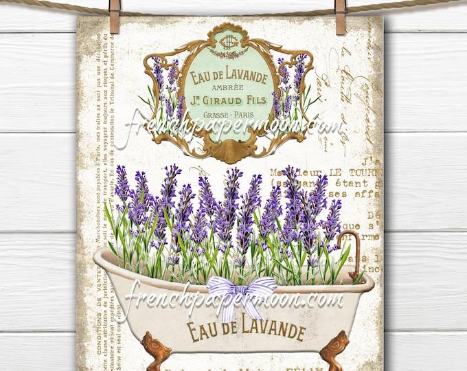 Shabby FRENCH BATHTUB Lavender, Victorian Bath, Spring Salle de Bain, French Bathroom Decor Digital Download, Image Transfer French Perfume