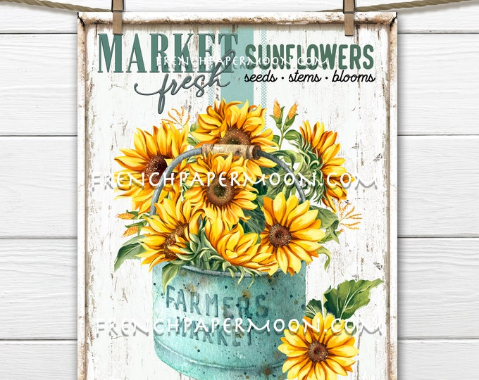 Farmhouse Sunflowers, Sunflower Market, Farm Fresh, Fall Flowers, DIY Sunflower Sign, Image Transfer, Digital Image, Wreath Accent, PNG