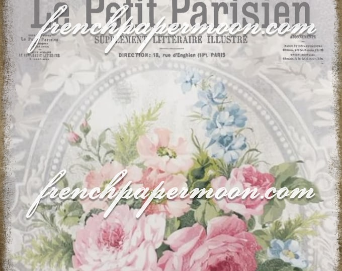 Digital French Shabby Chic Rose wallpaper with French Graphics, French Pillow Image, Floral Transfer Graphic