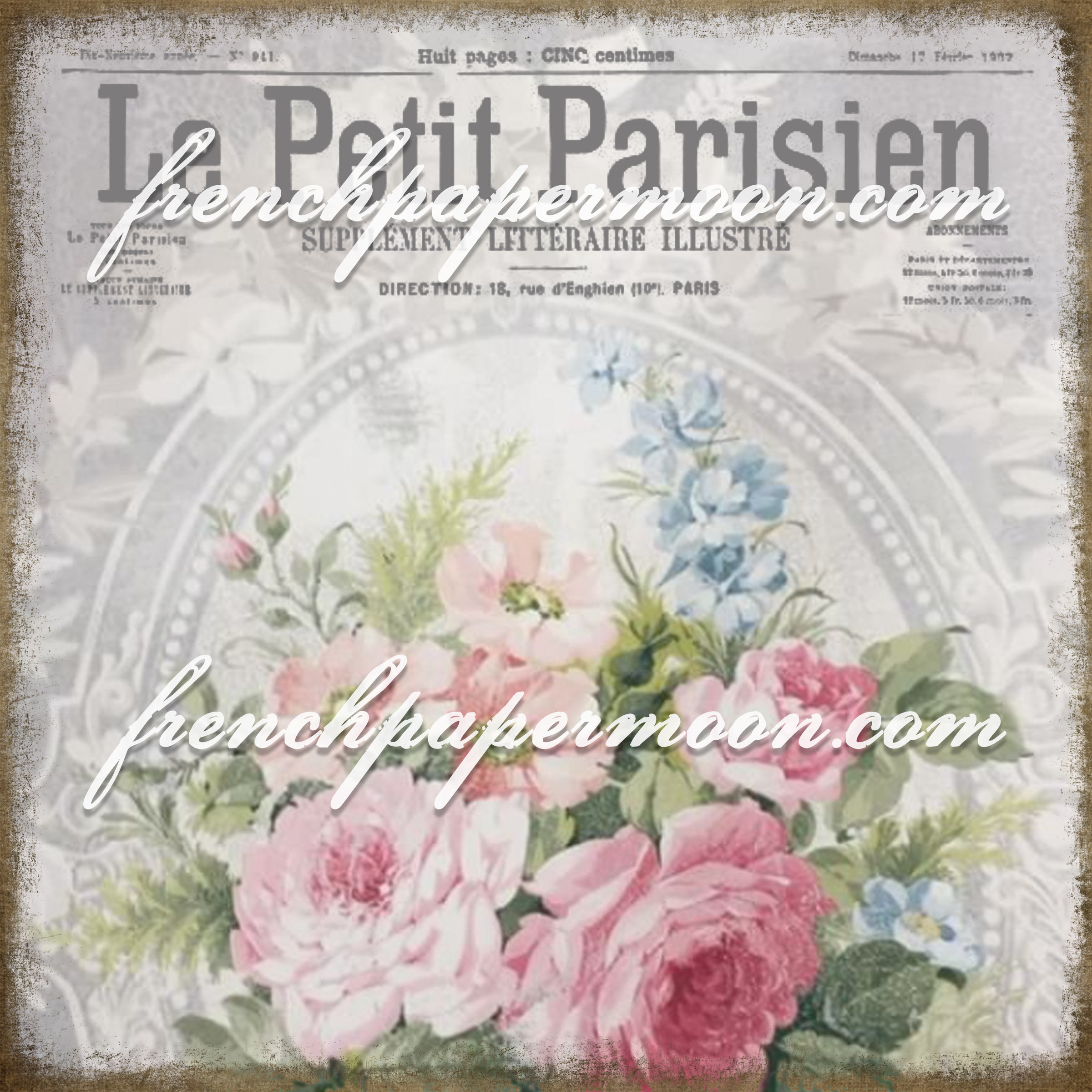 Digital French Shabby Chic Rose Wallpaper With French Graphics