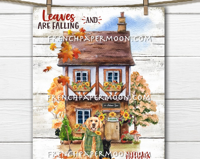 Adorable Autumn Cottage, Golden Retriever, Falling Leaves, Country Cottage, Home Decor Sign, Wreath Accent, Fabric Transfer, PNG
