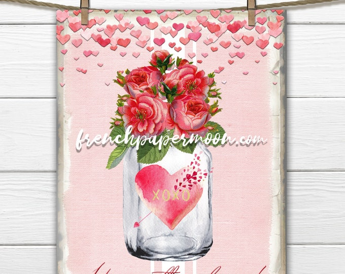 Love Mason Jar Printable, Valentine's Day Roses, Hearts, Valentine Pillow Image, Love Graphic Transfer Image, Sublimation, Crafts