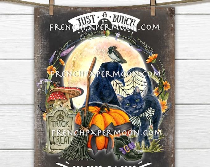 Halloween Black Cat, Hocus Pocus, Moon, Witch Broom, Digital, Cute Fall Decor Sign, Wreath Accent, Fabric Transfer, PNG, Halloween Craft