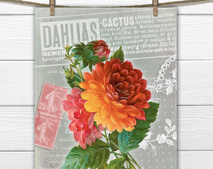 French Digital Dahlias, Vintage Botanical, Floral, Fabric Block Image, French Pillow Graphic, Fabric Transfer