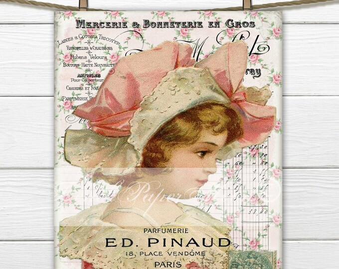 Shabby Chic Victorian Girl with Hat, Digital Girl, Large Instant Download Victorian Digital Printable, French inspired Graphic