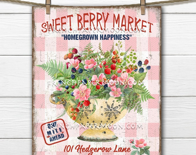 Berry Market, Fresh Berries, Farmhouse Berries, Rustic Colander, DIY berry Sign, Wreath Accent, Tiered Tray Decor, Image Transfer, PNG Plaid