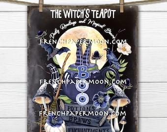 Adorable Halloween Black Magic, Halloween Tea, Witch Teapot, Spell Books, Bats, DIY Halloween Decor Sign, Crafts, Fabric Transfer, PNG