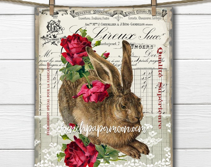 French Antique Bunny, Vintage Roses, French Bunny Pillow Image, Transparent, Decoupage, Digital Bunny, Easter Spring