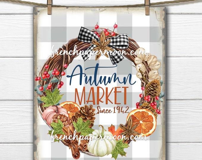 Autumn Market Printable, Pumpkin Wreath, Fall Wreath, Fabric Transfer, Autumn Colors, Plaid, Sublimation, Digital, Transparent, DIY Sign
