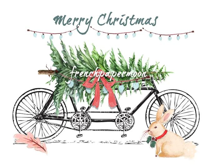 Digital Christmas Bike with Tree, Christmas Bunny, Tandem Bike, Christmas Pillow, Christmas Crafts, Large Image Transfer Graphic