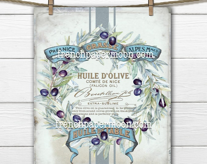 French Farmhouse, Olives, French Country, Olive Wreath, French Country Olives, Olive Wreath, Olive Oil, Image Transfer, Kitchen Decor, PNG