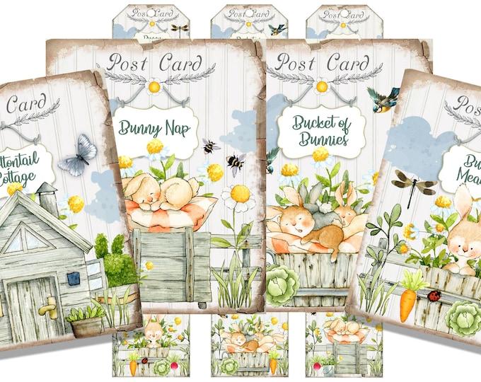 Adorable Bunny Rabbit Cards, Bunny Tags, Spring, Gift Supply, Watercolor Bunnies Digital Printable