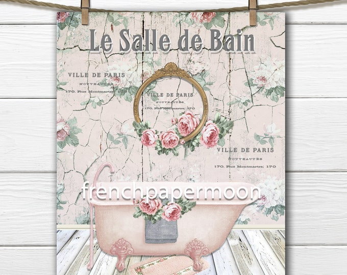 Victorian Bath Print, Shabby French Bathroom Print, Claw-foot Bathtub, Vintage Bath, French Bathroom, Digital, Large Size Graphic Transfer