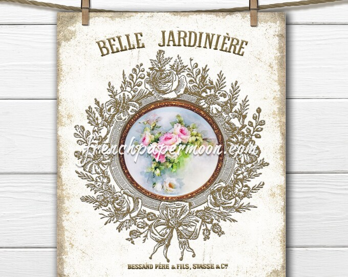 French Graphic Antique Roses, Ornate Frame Floral, French Pillow Image, Tiered Tray, Decoupage, Fabric Transfer, Transparent, Decoupage