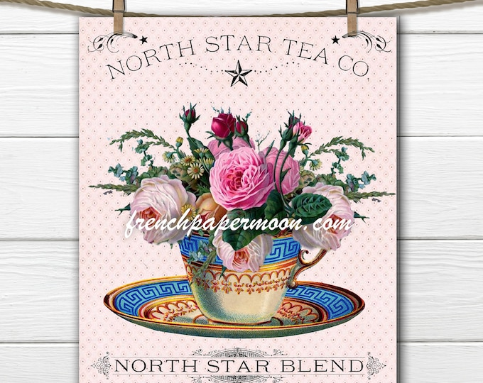 Vintage Shabby Tea Graphic, Teacup with Roses, Printable Teatime, Fabric Transfer, Kitchen Decor, Craft Supply