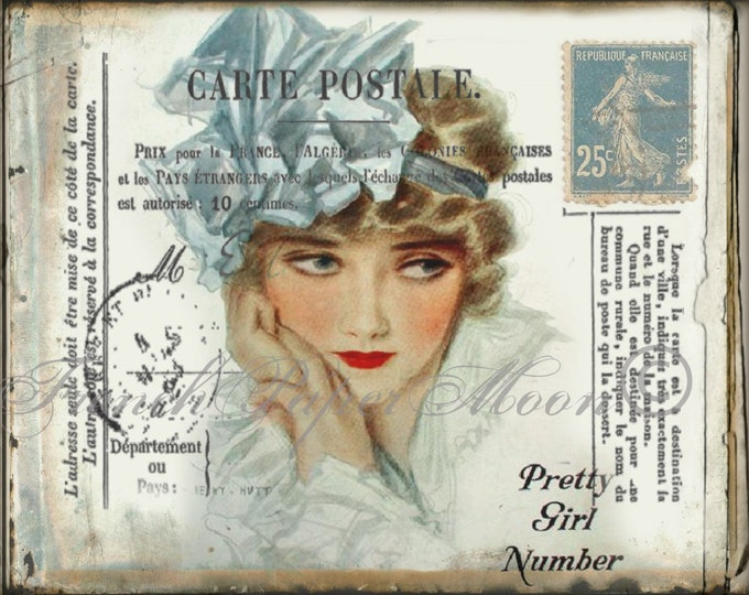 Vintage Lady, 1920s  French Postcard Markings,Digital Postcard, French Pillow Transfer Image, Graphic Transfer