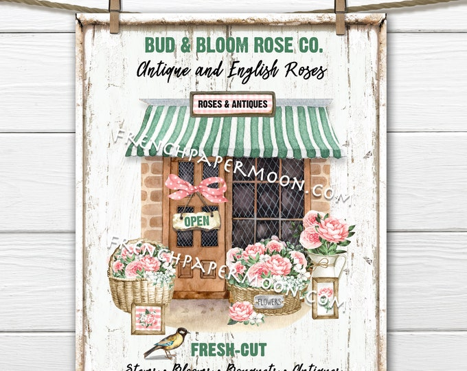Rose Flower Shop, Farmhouse Roses, Digital, Pink Roses, Fresh Cut Flowers, Pillow Image, Sign, Tiered Tray Decor, Wall Decor, Tea Towel