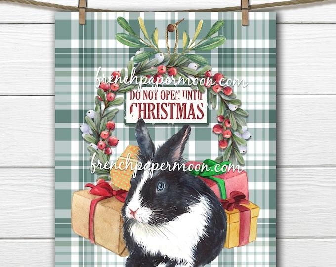Christmas Bunny Digital Sign, Xmas Bunny Graphic, Wreath, Gifts, Pillow Image, Plaid, DIY Christmas, Bunny lover Xmas, Transparent